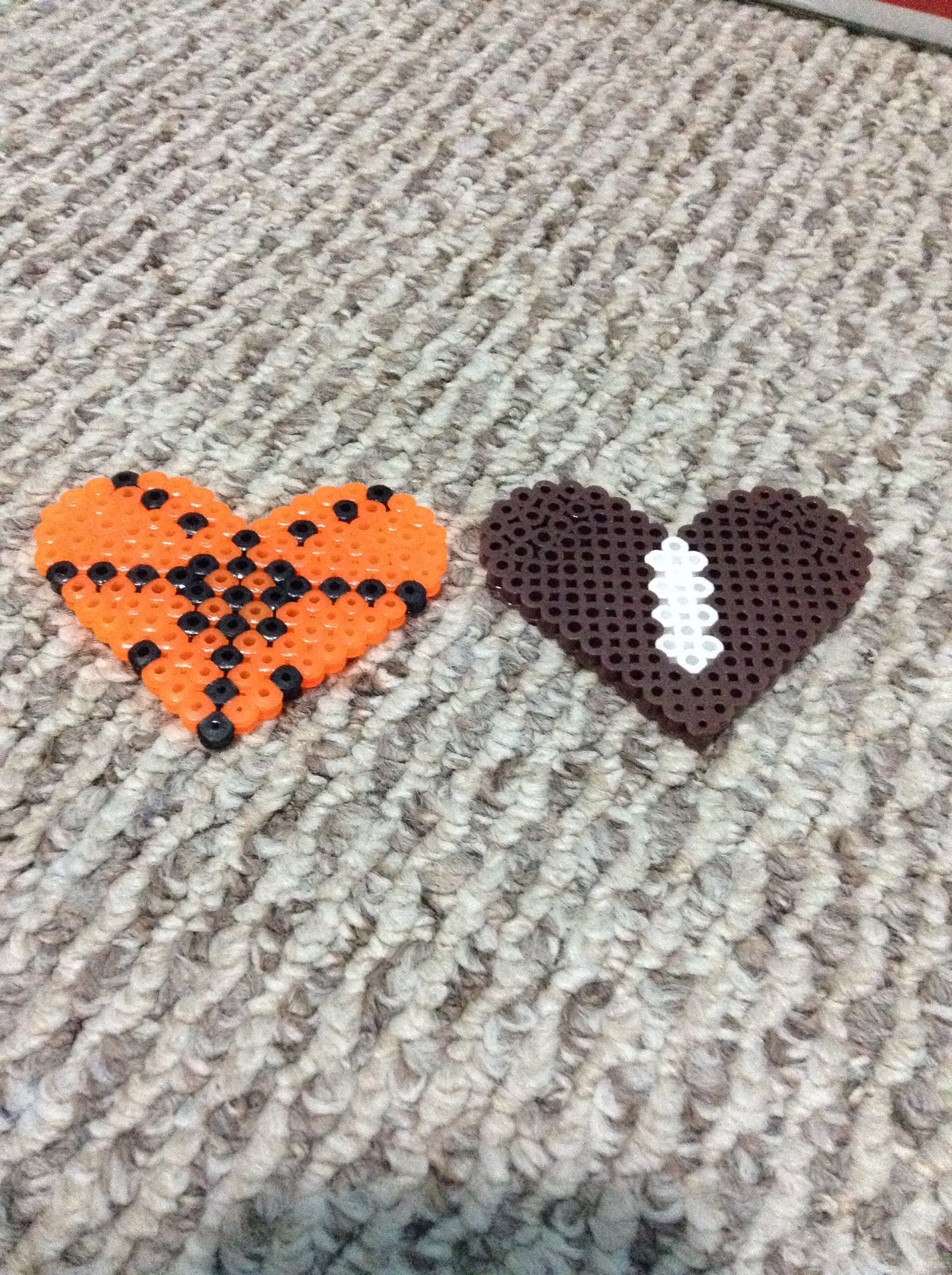 Heart shaped sports Hama Beads: Also made by hanahc7402 (search her)!