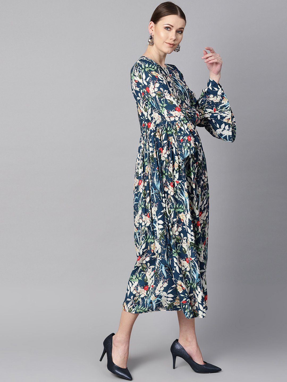 Women 39 S Viscose Rayon Maxi Dress In Blue Maxi Dress Dresses Long Sleeve Dress [ 1440 x 1080 Pixel ]