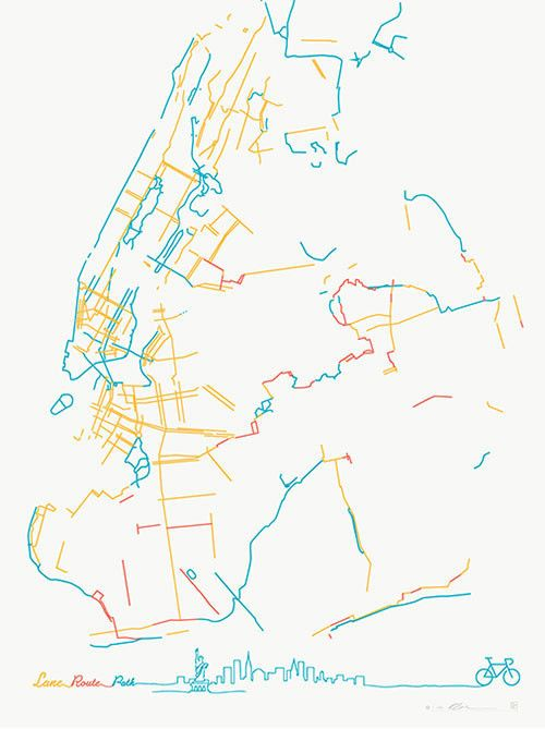 The Beauteous Bike Lanes Of New York City By Pop Chart Lab Map