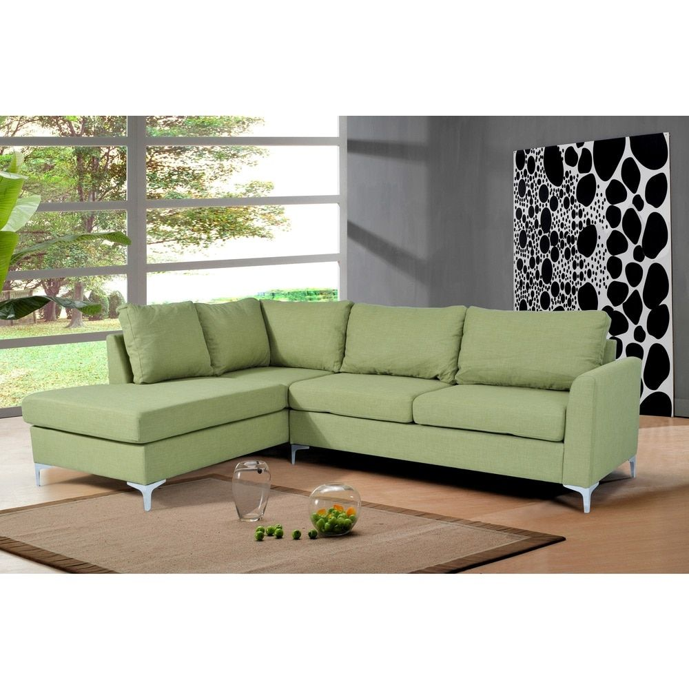 Landon Reversible Linen Sectional Green Color by Nathaniel Home ...