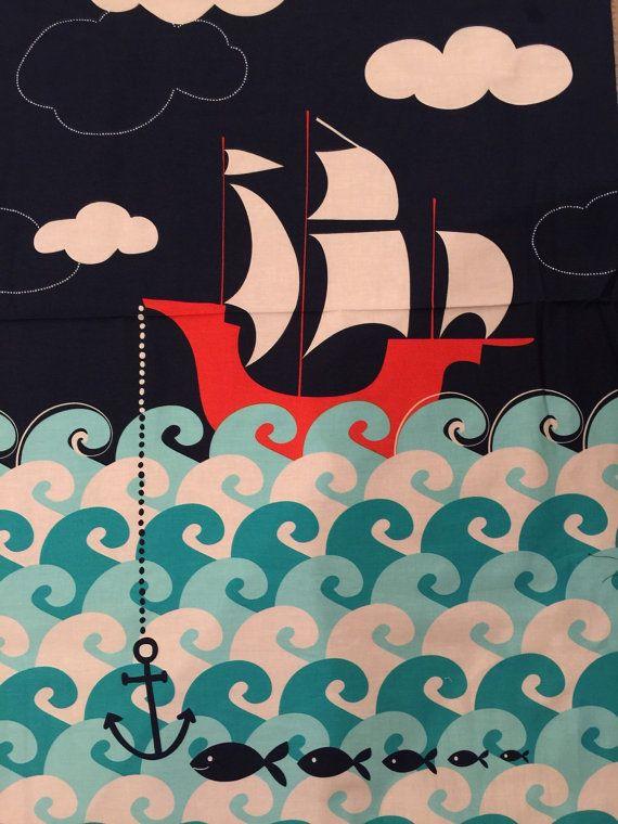 Ahoy Matey Making Waves Ship Panel, Michael Miller, Rare, OOP Fabric Anchor Schooner
