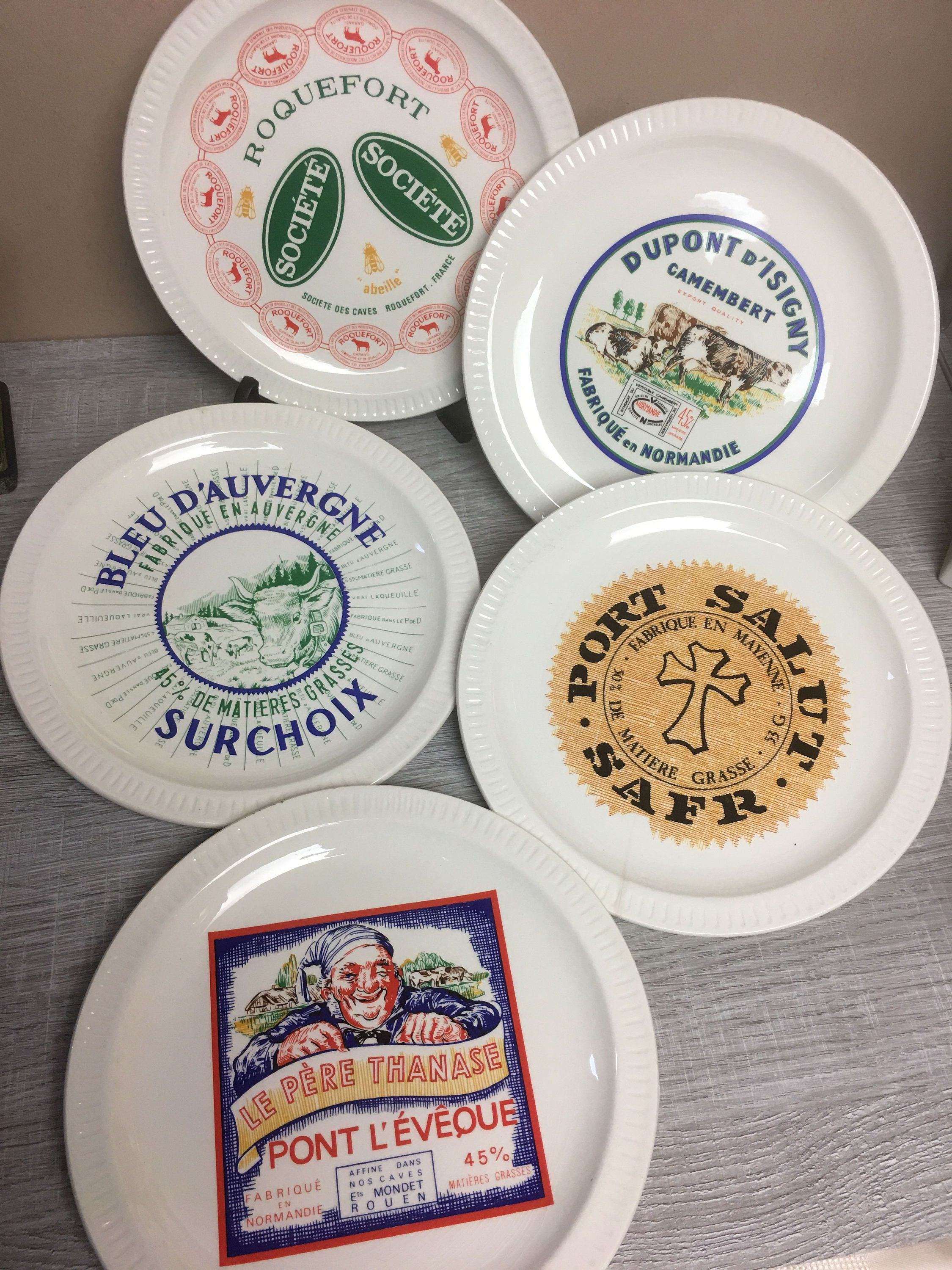 Authentic French St Amand Cheese Plates u201cFromages de Franceu201d Set of 4 & Authentic French St Amand Cheese Plates u201cFromages de Franceu201d Set ...