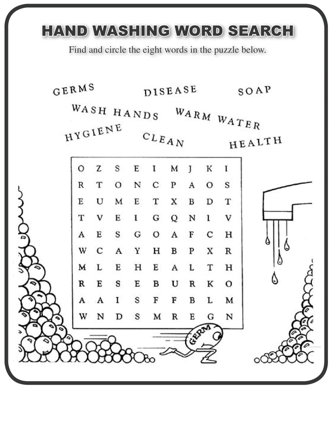 Wordsearch For Kids Health Theme