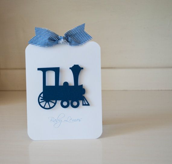 Vintage Train Boy Baby Shower Navy Pin Stripes by CardinalBoutique