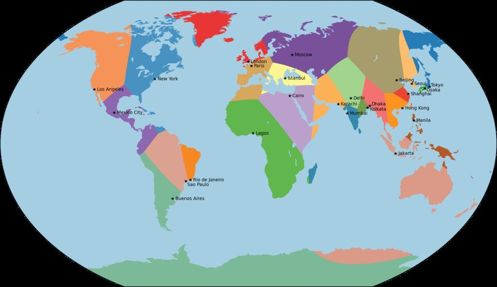25 regions of the world, by nearest major city LAND OF MAPS - new world map infographic image