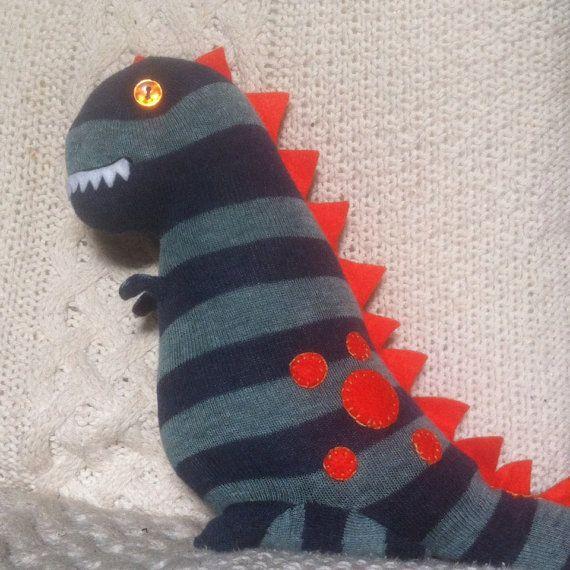 OOAK T-Rex Stripy Sock Monster on Etsy, £14.00