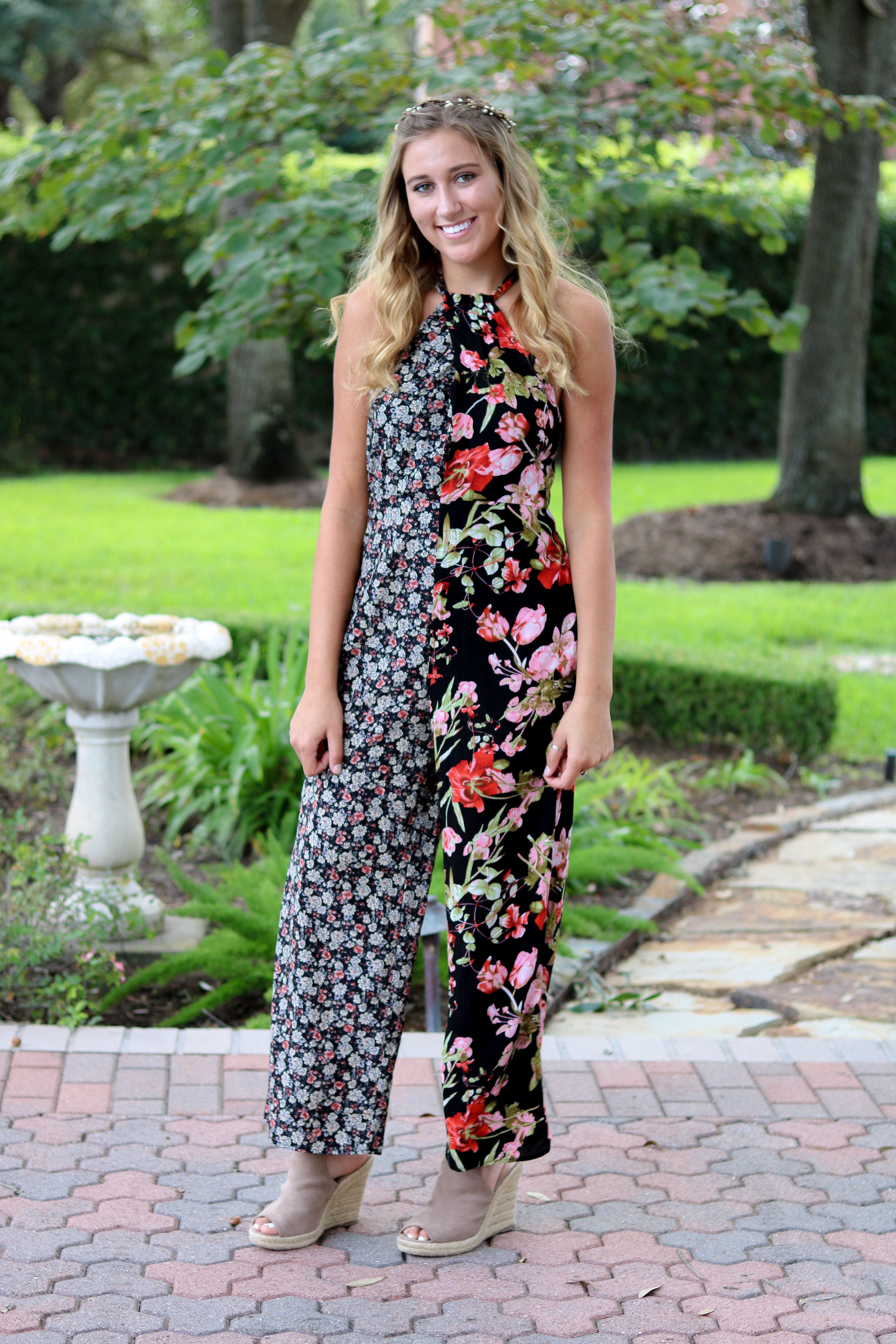 0b67ee62355  sassafrasbg fall outfit two toned floral jumpsuit flower crown outfit