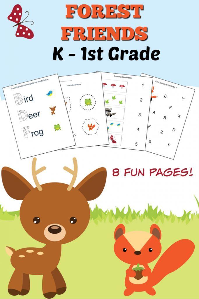 woodlands forest friends printable preschool set simple math worksheets and kindergarten. Black Bedroom Furniture Sets. Home Design Ideas