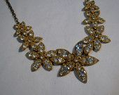 Vintage 1930s Rhinestone Wedding Necklace Rhinestone Golden Bridal Fashions 1940s    No one buy this... because it will be mine!