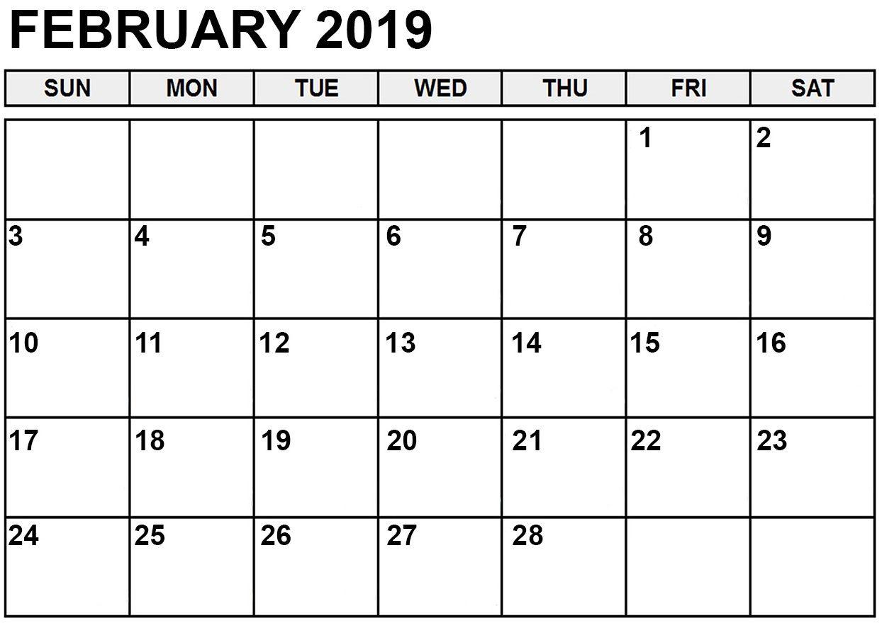 Free Editable February 2019 Calendar Feb February2019