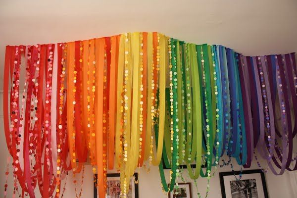 Iris is goddess of the rainbow--I see a 1st birthday party theme developing. #streamerbackdrop