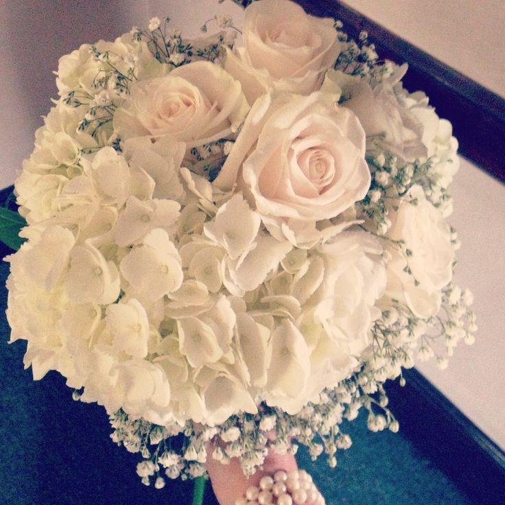 Hydrangea Rose Baby S Breath Bouquet Wedding Pinterest Babys Breath Bouquet Wedding Wedding Bouquets Babys Breath Bouquet