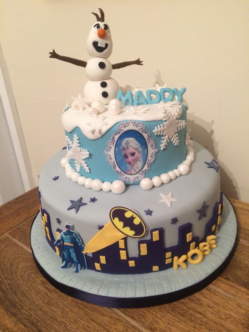 Batman And Frozen Themed Cake For A Brother And Sisters Joint