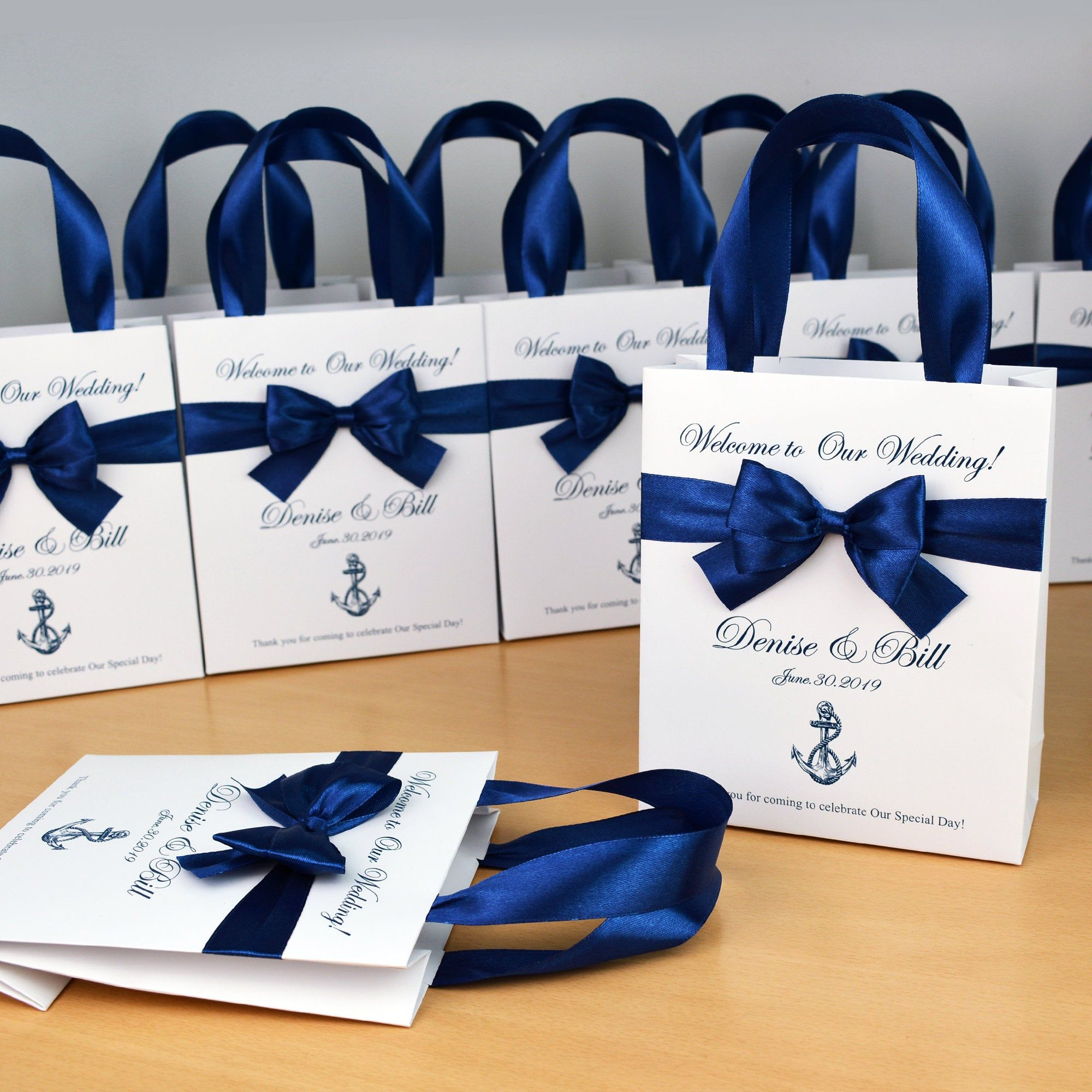 20 Nautical Wedding Welcome Bags With Satin Ribbon Handles Etsy In 2020 Wedding Party Gift Bags Destination Wedding Welcome Bag Wedding Goodie Bags