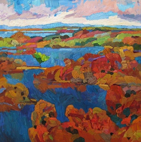 Larisa Aukon ,Water, Earth and Wind by Larisa Aukon Oil ~ 36 x 36