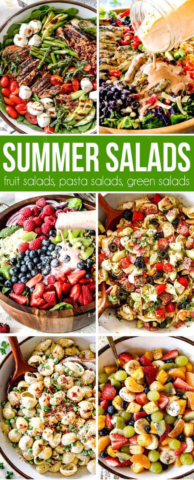 The best summer salad recipes from fruit salads to green salads to pasta salads to chicken salads all in one place! #salad #saladrecipes #saladdressing #saladideas #chickenfoodrecipes #summerrecipes #fruitsalad #pasta #pastasalad #pastarecipes #potluck #sidedishrecipes #4thofjuly  via @carlsbadcraving