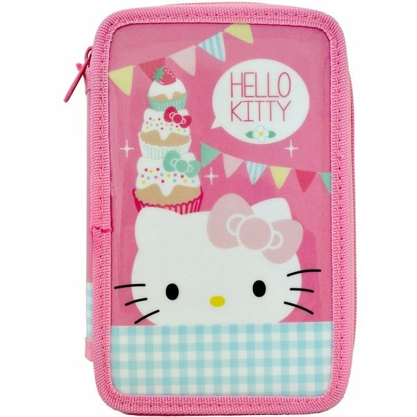 Hello Kitty Tea Party Filled Pencil Case Liked On Polyvore Featuring Home Decor Office Accessories School Colored Felt Tip Pens