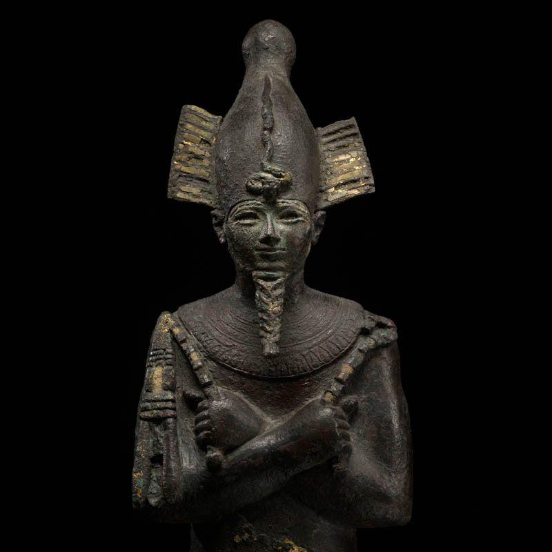 Egyptian Bronze Statuette of Osiris / late period (ca. 600 BCE) / gilded bronze / height 39 cm