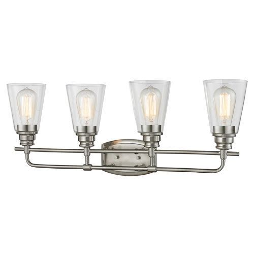 Annora Brushed Nickel Four-Light Vanity Fixture | Brushed nickel ...
