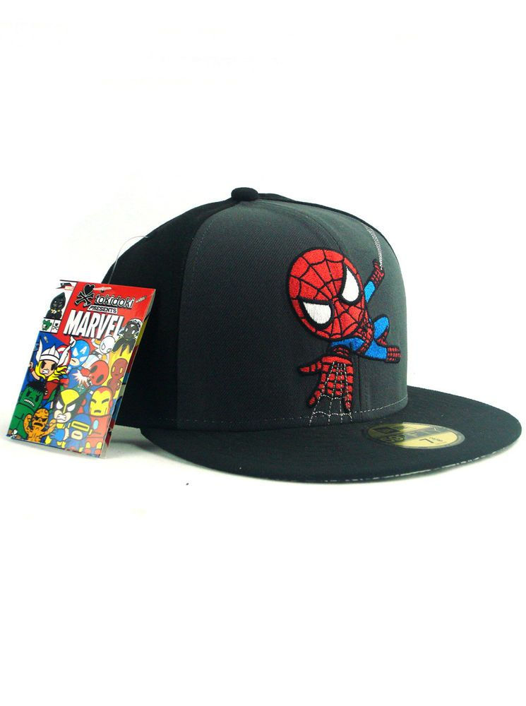 Marvel The Amazing Spider-Man Wordmark Red Blue New Era 59Fifty Fitted Hat Cap