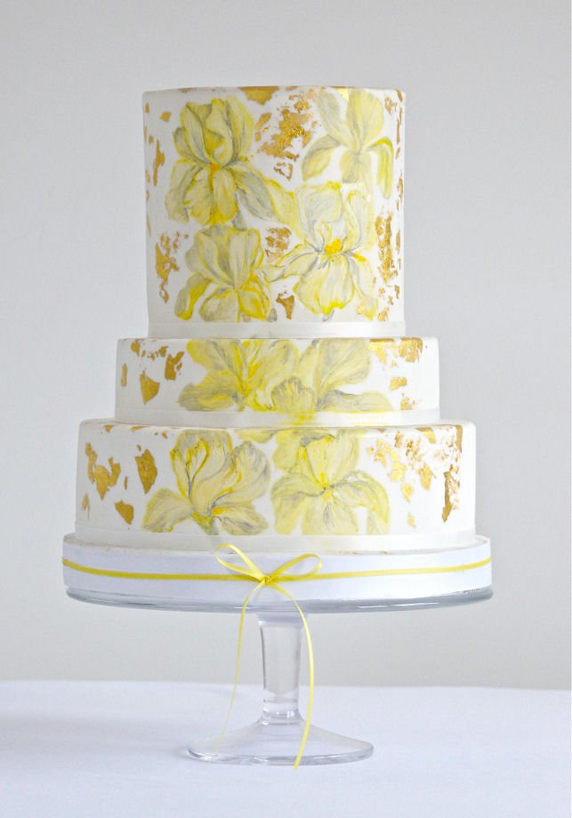Beautiful Hand Painted Yellow Flowers Wedding Cake | Wedding cakes ...