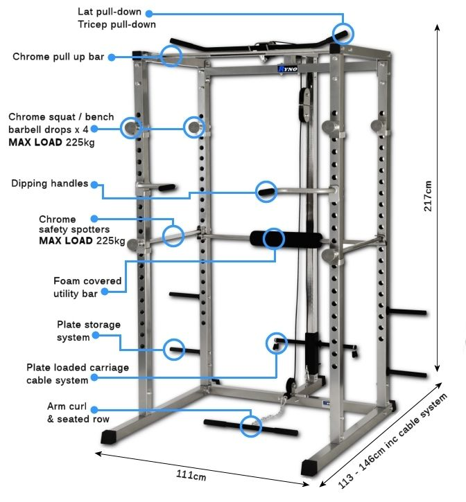 Basic Power Rack W High Low Cable Pulley Unit Features
