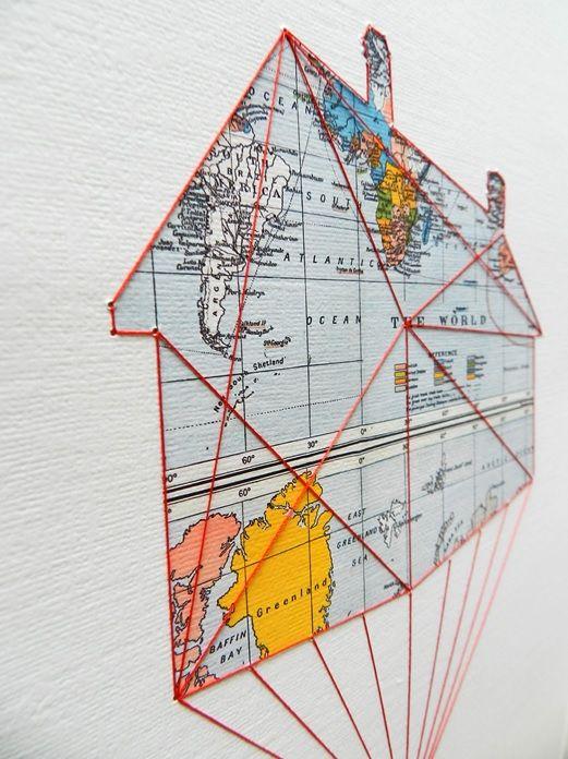 House and maps Beautiful artwork from artist #Hagarvardimon #studiodewinkel