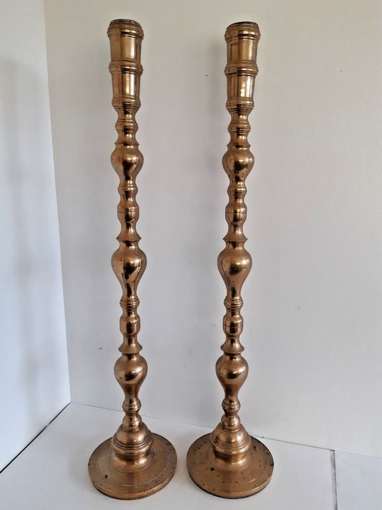 2 Large Vintage 36 Br Floor Candlesticks Candle Holders Altar Church Temple