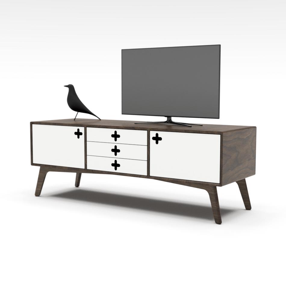 Mid Century Modern Plus Credenza In Walnut With White Drawers Scandinavian Minimalist Retro Interior Desig Furniture Retro Interior Design Furniture Details