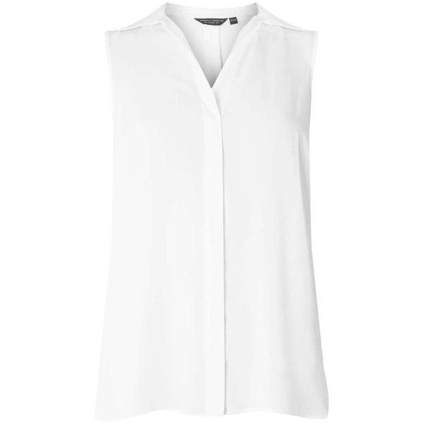 aec9e96ca8d55 Ivory Sleeveless Shirt ( 50) ❤ liked on Polyvore featuring tops ...