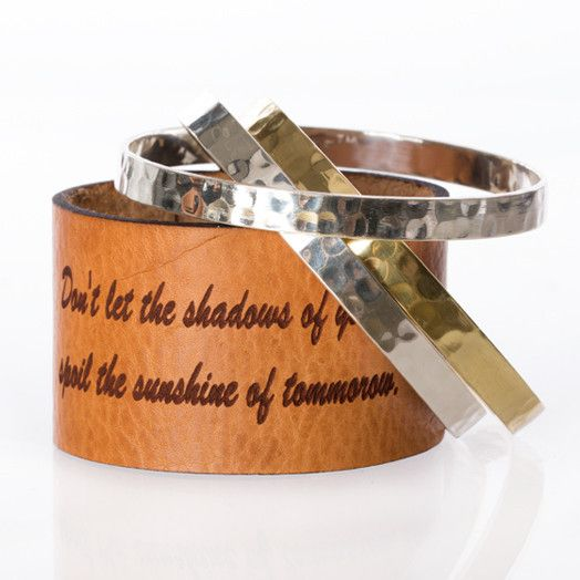 """1.5 inch Leather Quote """"Sunshine"""" with bangles – Rustic Cuff"""