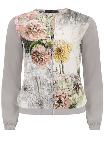 Grey floral bomber jacket