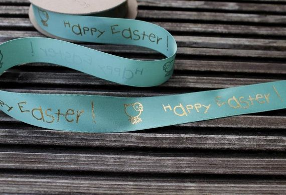 Happy Easter 1 Satin printed ribbon with Gold Foil by scratchycat, $1.00