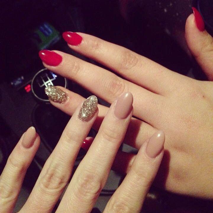 red vs beige almond gel nails nails nails nails. Black Bedroom Furniture Sets. Home Design Ideas