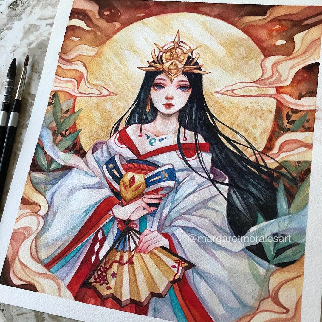 Watercolor Artist Margaret Morales Amaterasu Goddess Art Cute