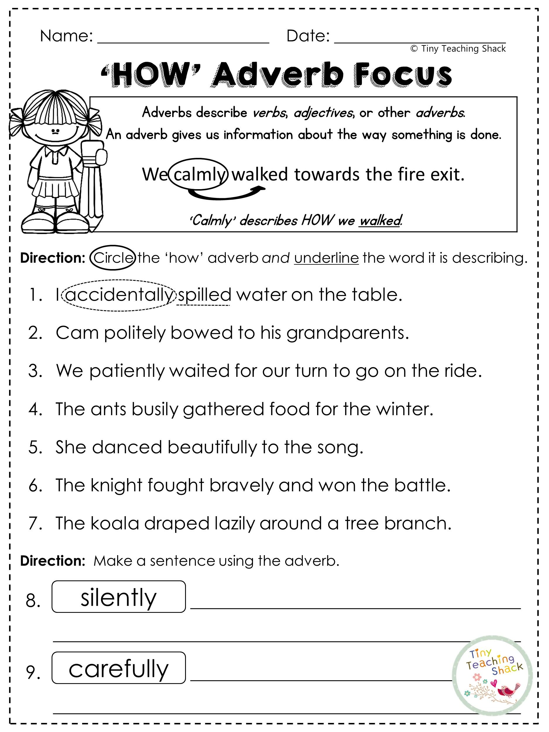 Free Adverbs Worksheet That Focuses On How Adverbs
