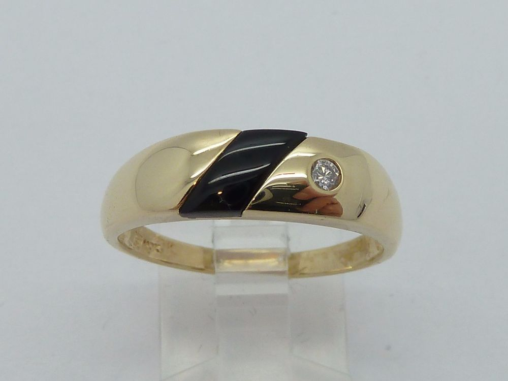 Men's 10k Yellow Gold ONYX & DIAMOND Ring Size 10 #Unbranded #Signet