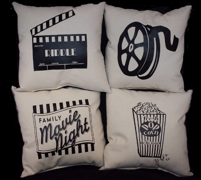 Set of 4 Home Theater Pillows PERSONALIZED Home Movie theatre Decoration a  complete set stuffed and sewn shut   dezdemon home decorideas Adorable Movie Inspired Home Decor Ideas That Will Blow Your Mind  . Home Theater Room Design Ideas. Home Design Ideas