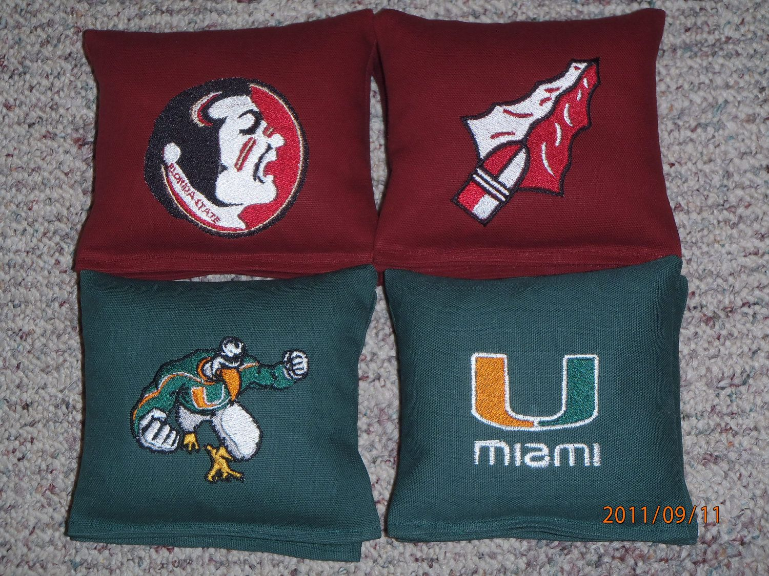 University Of Miami Vs Florida State Embroidered Corn Hole Bags Set 8