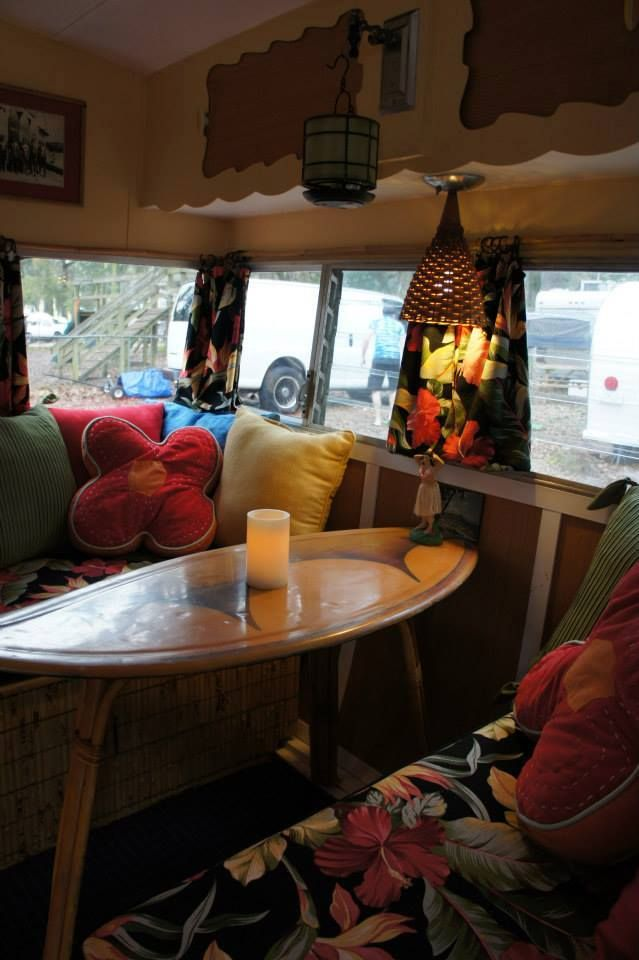 Camper interior  skim board table  from FB  | Feeling