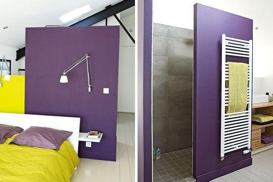 Ultra violet pour une déco chic et choc | Salles de bains jaunes ...