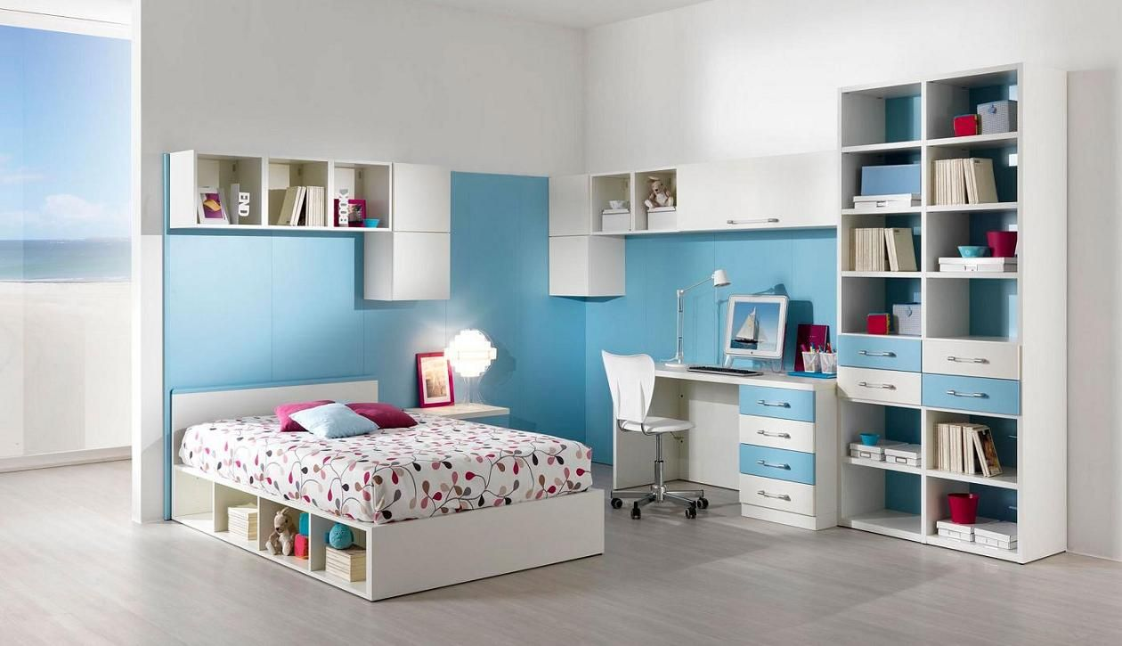 Teenage boys bedroom designs - Teen Bedroom Modern Blue White Bedroom Design With Cool Shelving Design And Study Space Plus Chic Bed Feat Storages Best Modern Teen Bedro