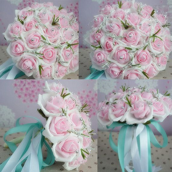 Pink Wedding Bouquet With Beading/ Romantic Party by Headdressy