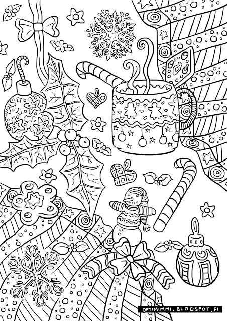 Optimimi A Free Christmas Themed Coloring Page Christmas Coloring Pages Coloring Books Christmas Coloring Cards