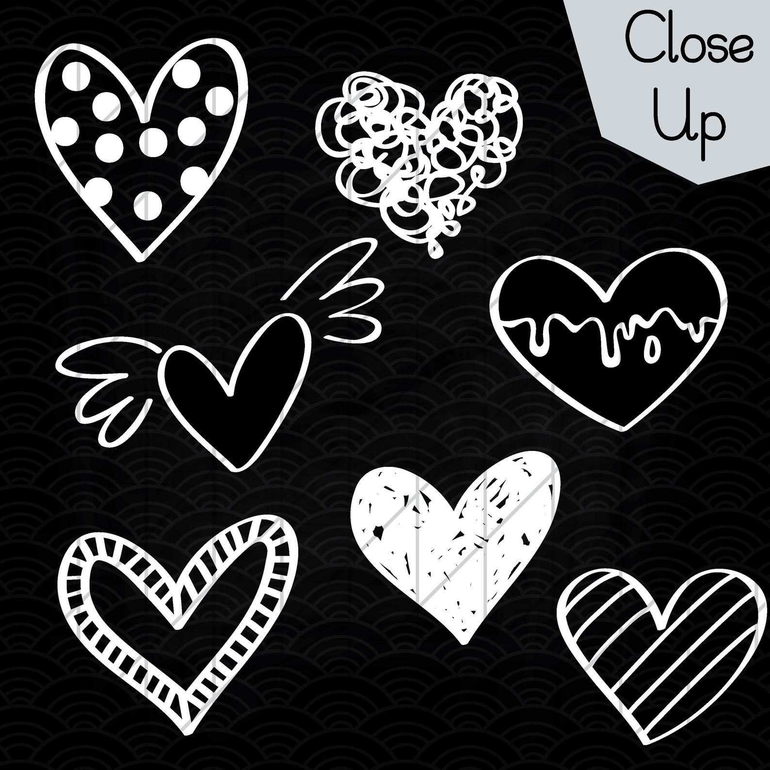 52 White Hearts Outline Clip Art Hand Drawn Romance Vector