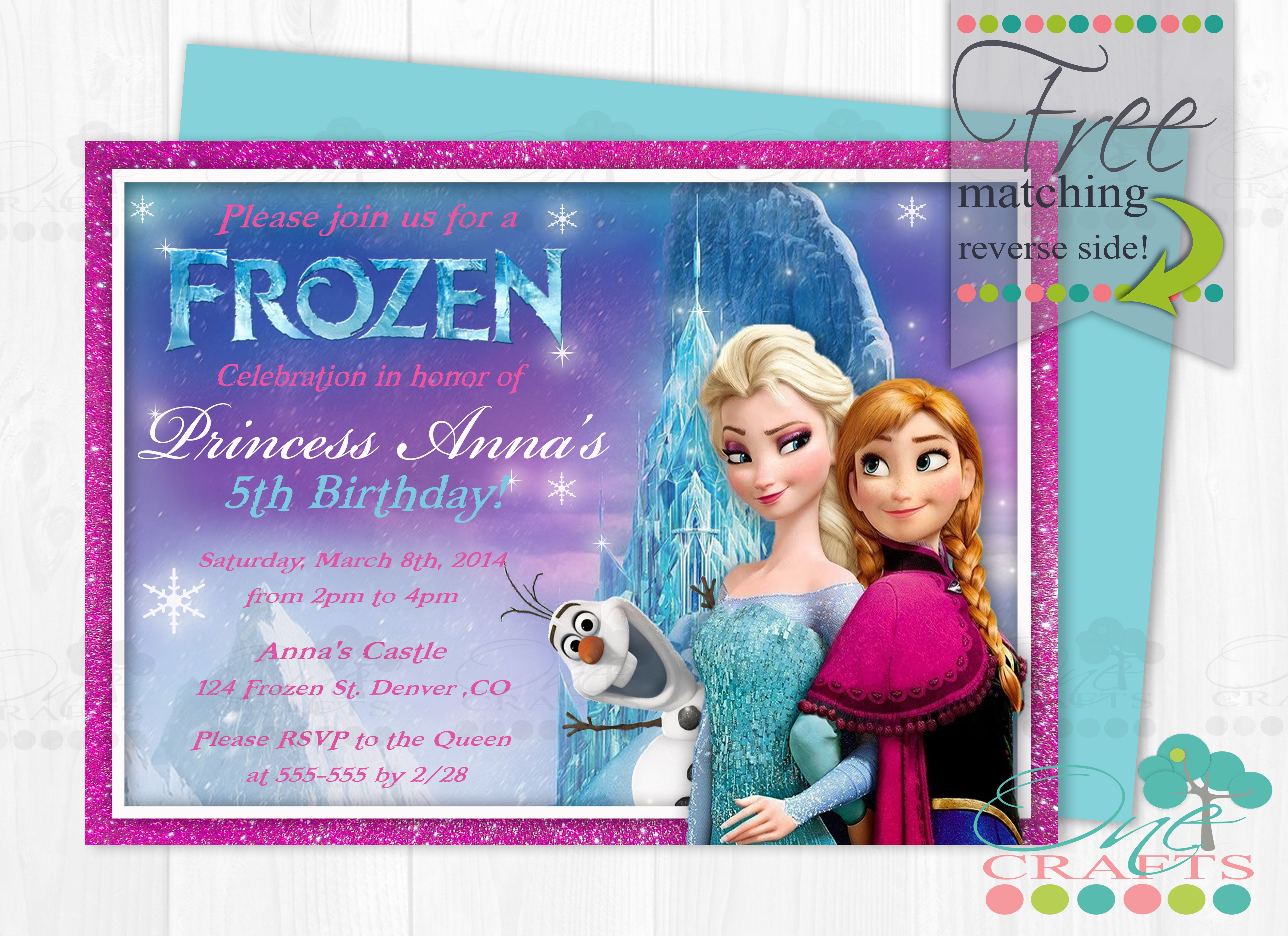 Glitter Frame Elsa And Anna Frozen Invite By One Crafts The Cold