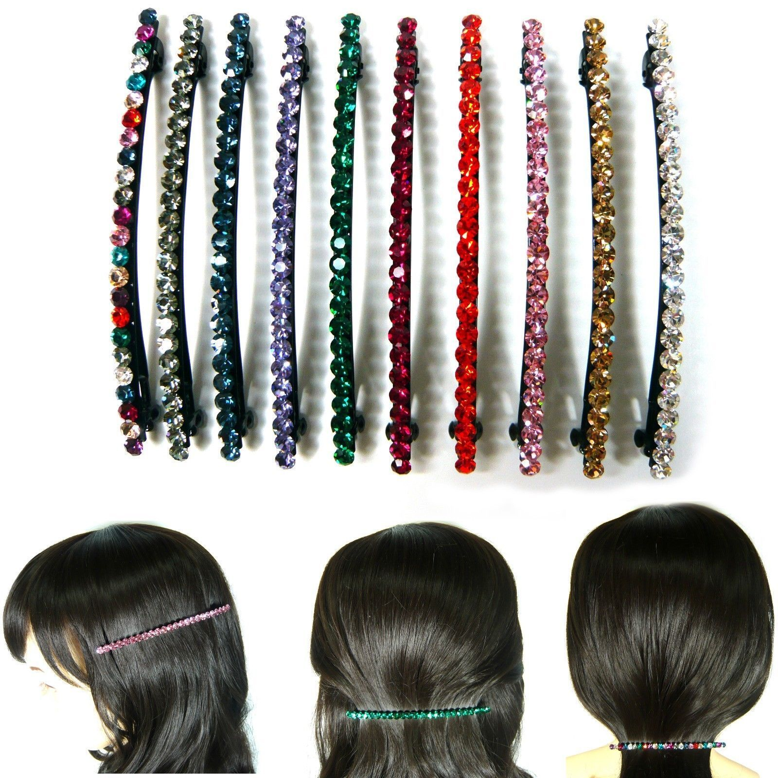 Bling Crystal Rhinestone Hair Jewelry Automatic Barrette Clip Pin Accessory New