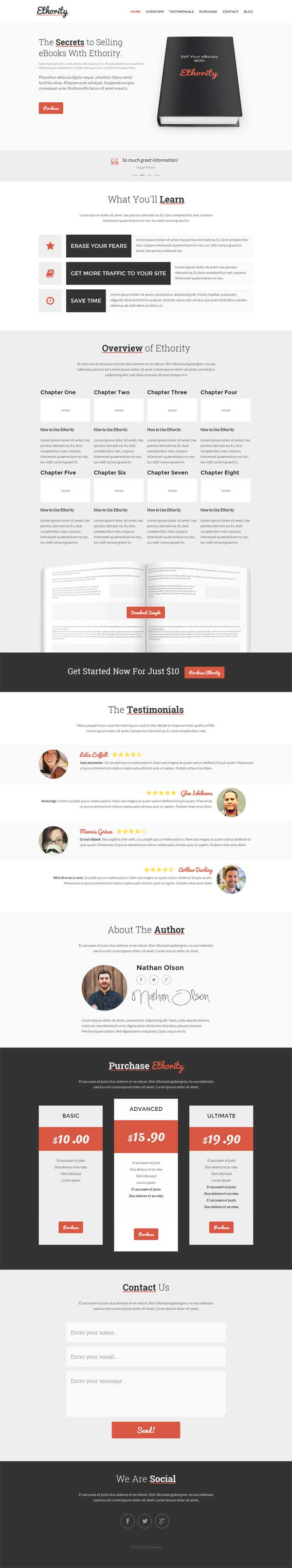 Ethority e Page eBook Landing Page HTML5 Template is a Best HTML
