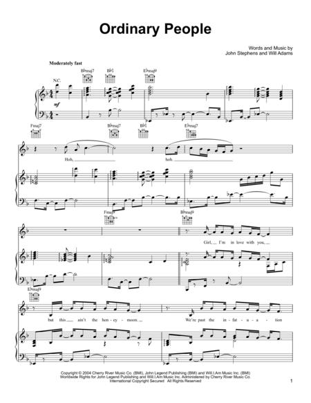 John legend - Ordinary People sheet music | Artist\'s Retreat and ...