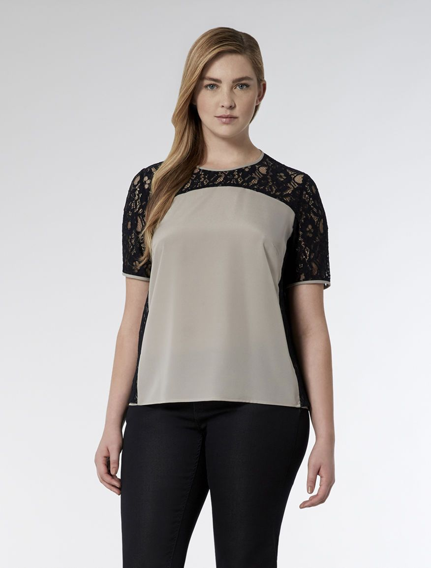 Marina Rinaldi BASIC dark navy: Crepe de chine lace and blouse.
